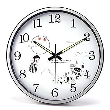 SXQCLOCK Salón del Reloj Reloj de Pared Reloj de Cuarzo Relojes Silencio Creative Kids Niños Cute Dibujos Animados Reloj,Frontera Plata: Amazon.es: Hogar