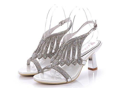Geminigirl Women's Waterfall Patterned Rhinestone Chunky Heels Sandals Wedding Bridal Shoes Silver 8 M US