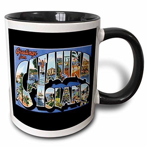 3dRose BLN Vintage US Cities and States Postcards - Greetings From Catalina Island with Bold Letters Holding Scenes from the Island - 15oz Two-Tone Black Mug (mug_160725_9) (Postcard Island)