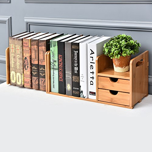 2-Drawer Natural Bamboo Wood Desk Organizer Storage Station w/ Expandable Bookshelf - 2 Shelf Natural Wood