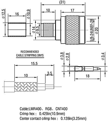 Katigan Lot de 10 N Connecteur Coaxial RF /à Sertir Male 50 Ohm pour LMR400 RG8 Construction Laiton Usin/é Nickel