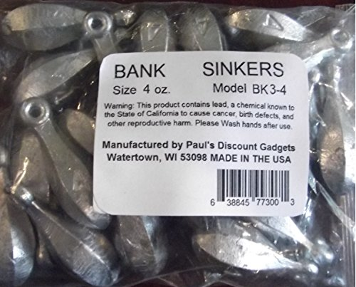 Paul's Discount Gadgets Fishing Sinker/Weights Bulk Assorted 1, 2 & 3 oz. Bank Fishing Sinkers Assortment 3 to 5lbs Manufactured (4oz - 5lbs)