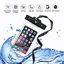 VITCHELO Waterproof Cell Phone Case Pouch With Armband & Lanyard. Touch Responsive, Watertight Sealed & IPX8 Certified Dry Bag Suitable for iPhone 6, 7 Plus. Best for Outdoor Activities & Watersports