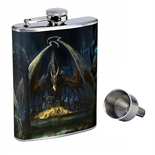 超美品 Perfection Inスタイル8オンスステンレススチールWhiskey Flask with Free Funnel Dragon design-019   B017FKCCM6, カホーPLUS 47b66020