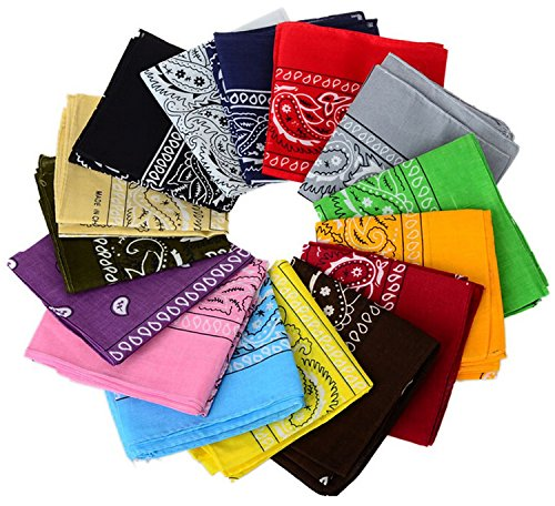 12pcs Bandanas 22 X 22 Inch 100% Cotton Novelty Double Sided Print Paisley Cowboy Bandana Party Favor Scarf Headband…