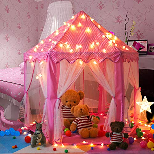 Maydolly Kids Fairy-Style Play Tent Hexagon Princess Castle with Star Lights Pink