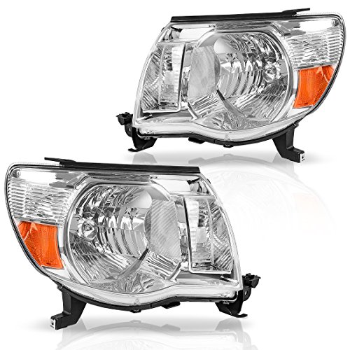 (For 05-11 Toyota Tacoma Pickup Truck Headlight Assembly OE Style Replacement Chrome Housing Amber Reflector (Passenger & Driver Side))