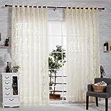 "R.LANG Solid Grommet Top Beautiful Design Jacquard sheer Curtain 1 Pair Beige 52""W X 108"" L"