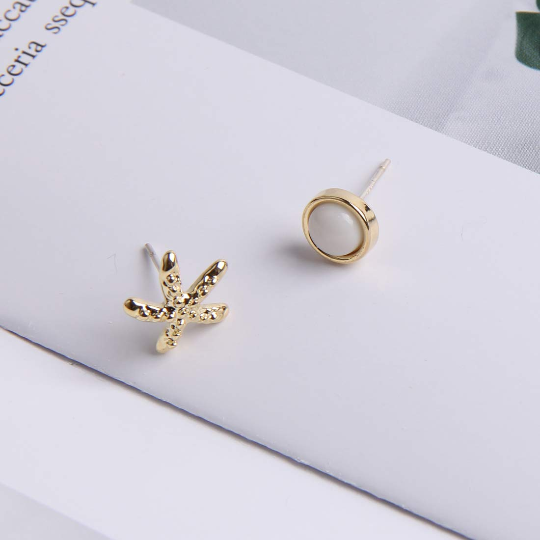 YESLADY Asymmetry Starfish And Round Stone Stud Earrings For Women Girls