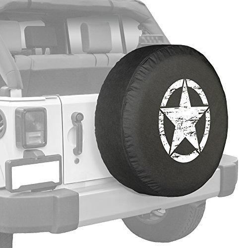 White Print Jeep Oscar Mike Star Spare Tire Cover