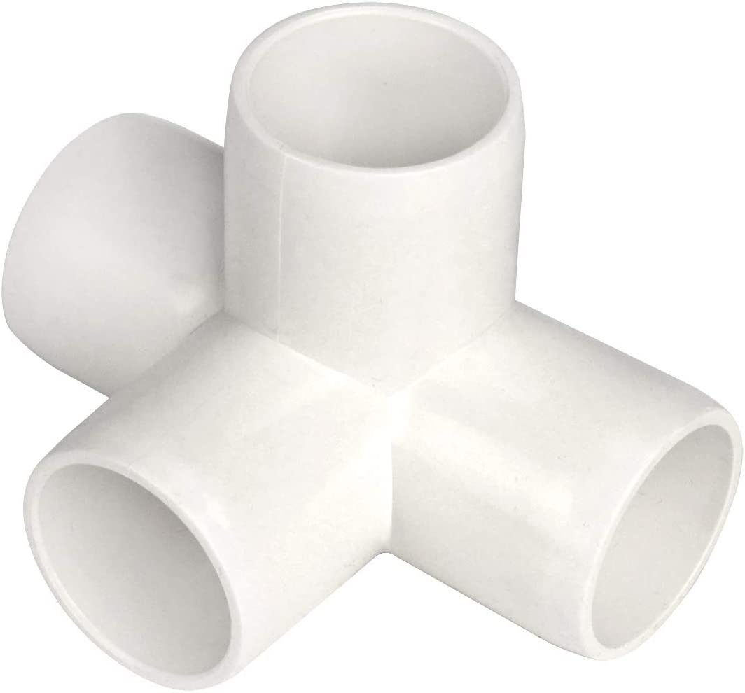 4 Way 1-Inch Tee PVC Fitting Build Heavy Duty Greenhouse Frame Furniture Connectors (Pack of 4)