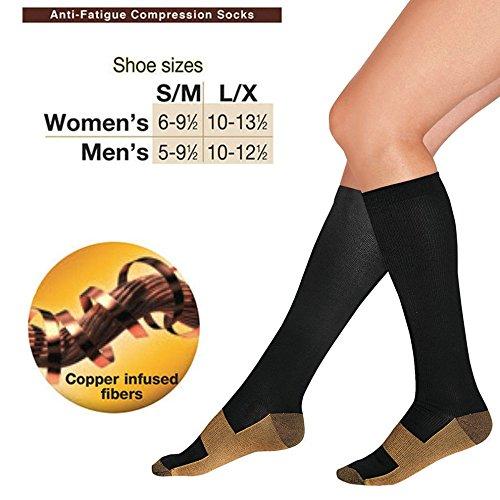 Compression Socks Copper Infused Anti Fatigue Socks For Men Woman Pain Ache Relief (S & M) (Seeking Men)