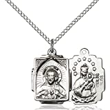 Sterling Silver Scapular Pendant 5/8 x 1/2 inches with 18 inch Sterling Silver Curb Chain