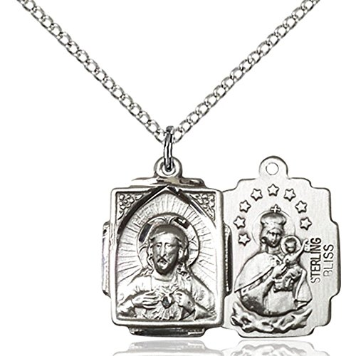Sterling Silver Scapular Pendant 5/8 x 1/2 inches with 18 inch Sterling Silver Curb Chain ()