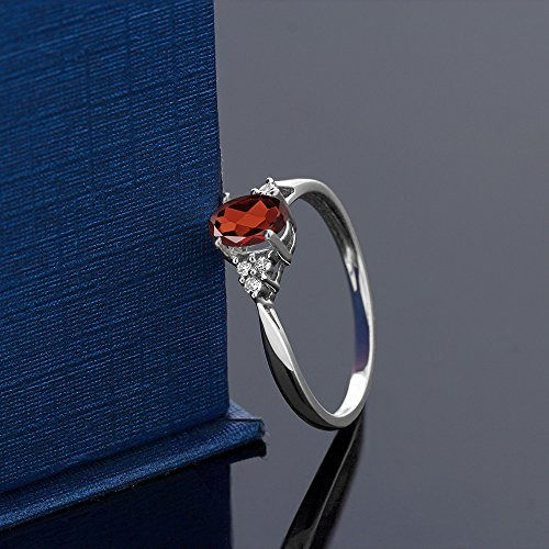 14K White Gold Red Garnet and Diamond Women's Ring 0.56 cttw, Available in size (Available in size 5, 6, 7, 8, 9)
