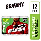 Brawny Paper Towels, 12 Count Rolls, Tear-A-Square, 128 Sheets Per Roll