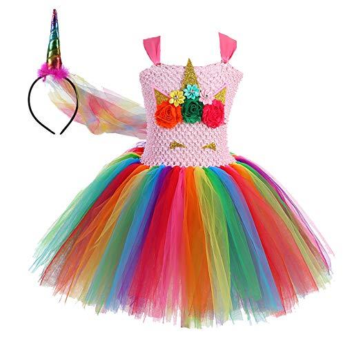 Girls Birthday Party Tutus Costumes Rainbow Tutu Dress Plus Size ()