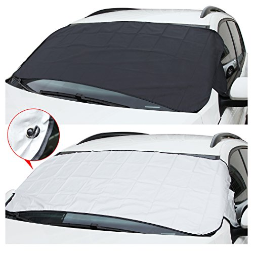 CARTMAN Windshield Sun/Snow Shade 59 x 27.5 (Size Good for Car, Sedan), Keep Your Vehicle Cool, 1 Side Black Snow Shade/ 1side Silver for Sunshine, 1PK