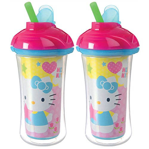 Munchkin Hello Kitty Click Lock Insulated Straw Cup, 9 Ounce, 2 Pack - Blue/Pink