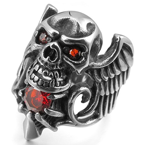 INBLUE Men's Stainless Steel Ring CZ Silver Tone Black Red Angel Wing Skull - Black Silver Red