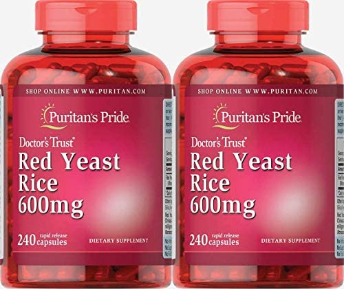 Puritans Pride Red Yeast Rice 600 Mg Capsules, 480 Count 2 Pack