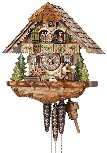 - German Cuckoo Clock 1-day-movement Chalet-Style 13.00 inch - Authentic black forest cuckoo clock by Hekas