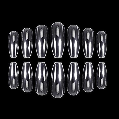 500 uñas de coffin transparente Ballerina Artificial Puntas de uñas largas de ballet uñas cobertura completa acrílico uñas falsas 10 tamaños: Amazon.es: ...