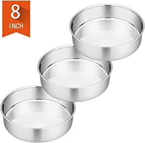 8 Inch Cake Pan Set of 3, P&P CHEF Stainless Steel Round Baking Pans Layer Cake Pans Tin Set, Fit Oven/Pots/Pressure Cooker, Non Toxic & Heavy Duty, Dishwasher Safe