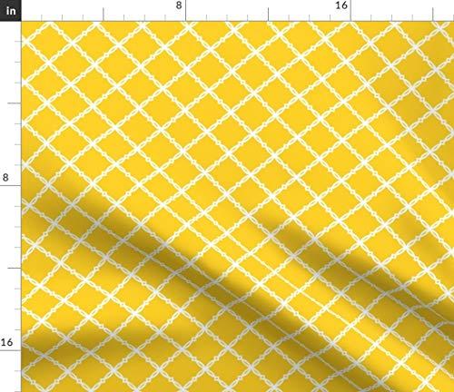 Spoonflower Louisiana Fabric - Louisiana State Univers LSU Tigers Diamond Trellis Purple Yellow Print on Fabric by The Yard - Basketweave Cotton Canvas for Upholstery Home Decor Bottomweight Apparel