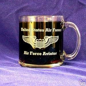 Custom Etched USAF Aviator Wings on 13 oz clear glass coffee Mug (1)