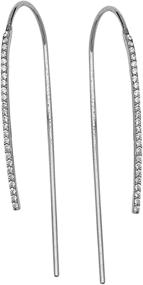 FANCY SMALL CZ HOOK EARRINGS Threader Earring