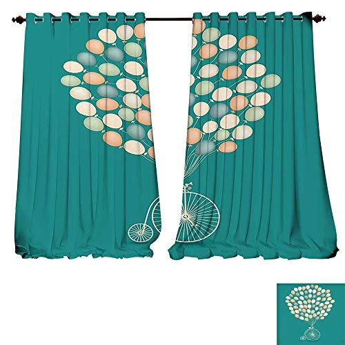 fengruiyanjing-Home Thermal Insulating Blackout Curtain Vintage Retro Invitation Baloons Crius Clown Bike Jade Green Background Image Multicolor Patterned Drape Glass Door (W72 x L72 -Inch 2 Panels) ()