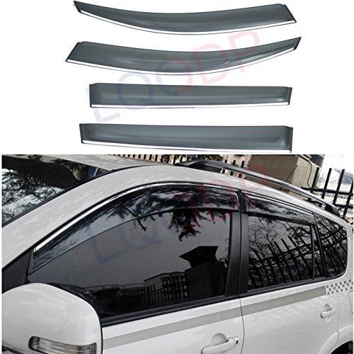 LQQDP 4pcs Smoke Tint With Chrome Trim Outside Mount Tape On/Clip On Style PVC Sun Rain Guard Vent Shade Window Visors Fit 06-12 Toyota RAV4 RAV-4 (2007 Rav 4 Driver Visor)