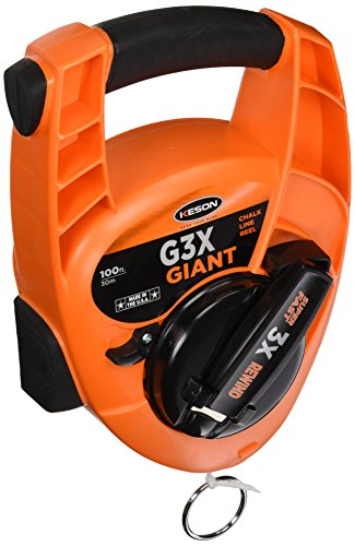 Keson G3X Giant Chalk Line Reel with High Speed Rewind, 12-Ounce Chalk Capacity, 100-Foot ()