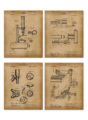 Microscope Patent Art Prints - Set of 4 Vintage Unframed 8x10 - Gifts under 15 Dollars - Ideal Gift for Scientist