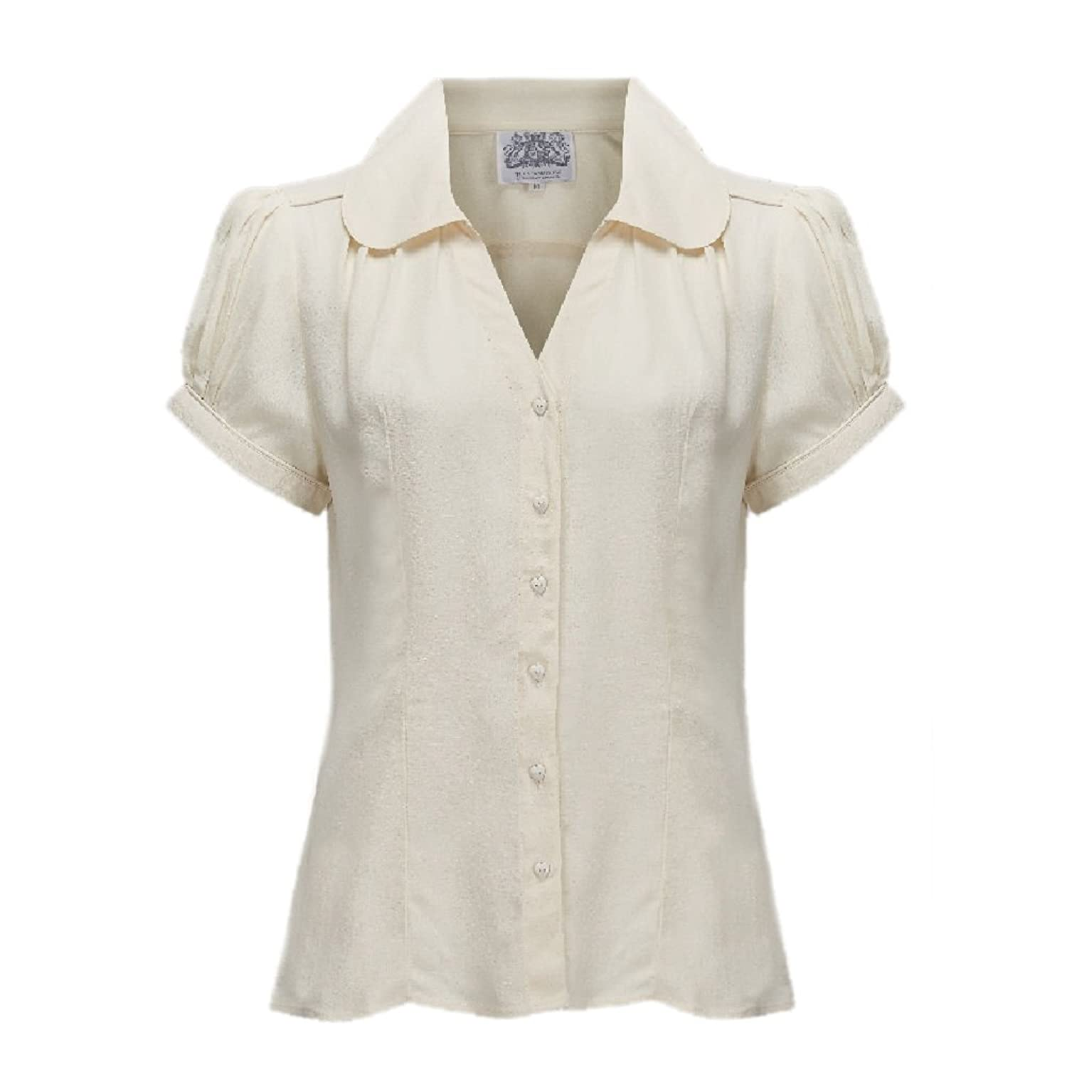 1940s Blouses and Tops Seamstress Of Bloomsbury 1940s Cream Crepe de Chine Judy Blouse £39.99 AT vintagedancer.com