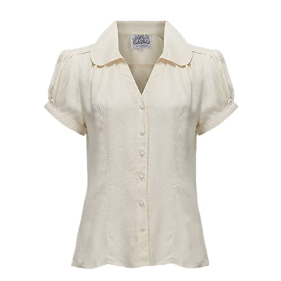 Vintage & Retro Shirts, Halter Tops, Blouses Seamstress Of Bloomsbury 1940s Crepe de Chine Judy Blouse $49.95 AT vintagedancer.com