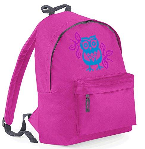 Diseño de búho de mochila escolar con Color azul, plata y rosa impresión de purpurina brillante fucsia