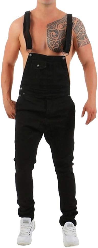 Kunfang Hombre Mono Vaqueros Pantalones De Mezclilla Overalls Pantalones Babero Jeans Ajustados Elasticos Slim Fit Jeans Pantalones Largos Pantalones Rectos S 3xl