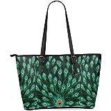 InterestPrint Green Peacock Women's Leather Tote Shoulder Bags Handbags