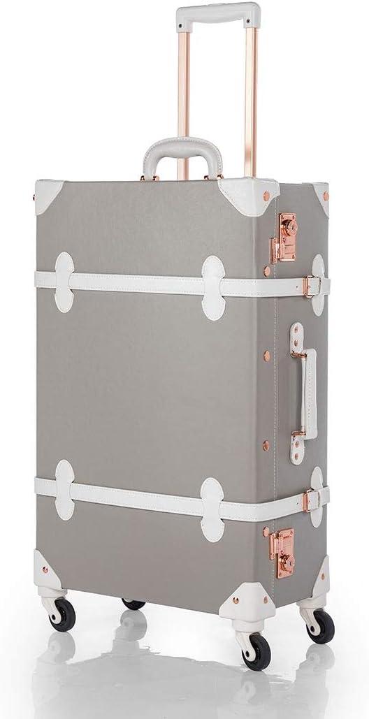 COTRUNKAGE Pu Spinner Suitcase Grey Vintage Trunk Luggage Set with TSA Locks Light Grey, 24