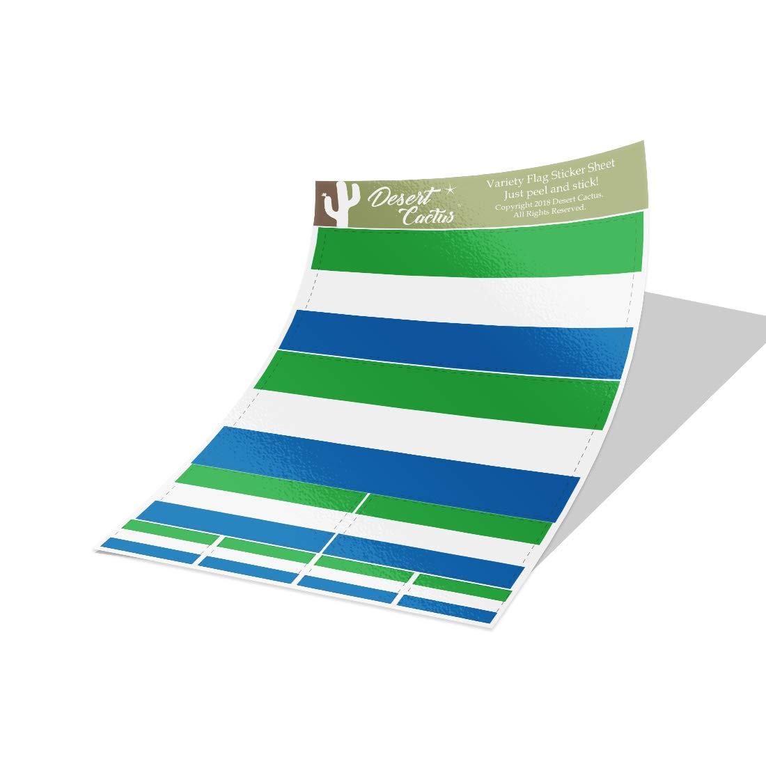 Desert Cactus Sierra Leone Country Flag Sticker Decal Variety Size Pack 8 Total Pieces Kids Logo Scrapbook Car Vinyl Window Bumper Laptop V