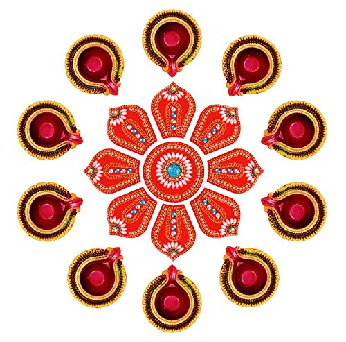 Ramya Exclusive Combo Handcrafted Vibrant Rangoli a Set of 10 Handpainted Clay Diyas/Oil Lamps - Ideal Diwali/Christmas / Festival Decoration Gifting (7282B)