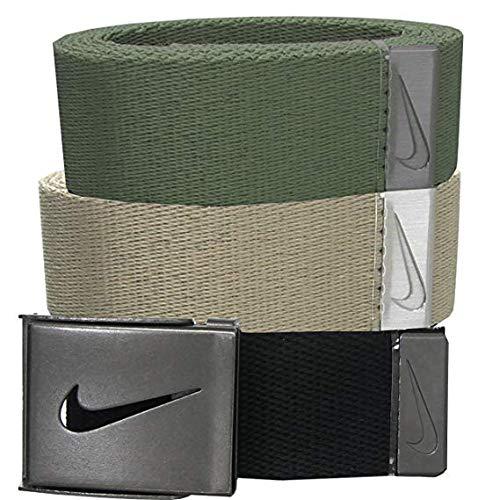 Nike Men's 3 Pack Web Belt, Black/Cargo Khaki, One - Golf Athletic Belt