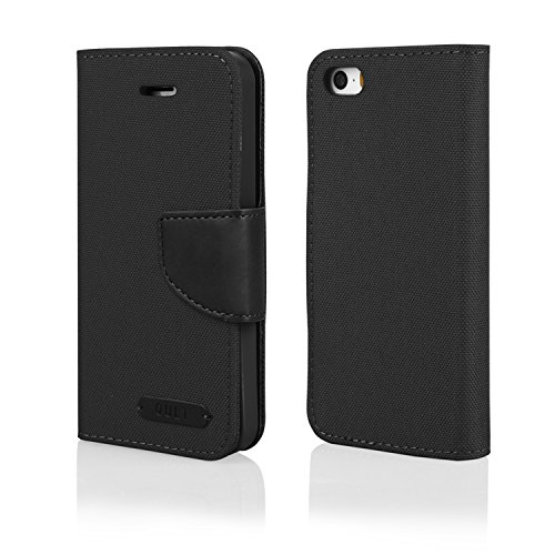 """Élégant Portefeuille Housse flip case noir pour """"Apple iPhone 5/5S Coque Housse de Protection à Rabat Cover Book Case Wallet"""