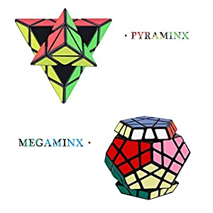 Tresbro Speed Cube Set of 4 Pyraminx Pyramid Speed cubing, Megaminx Speed Cube, Mirror Cube, Magic Skewb Twisty Puzzle