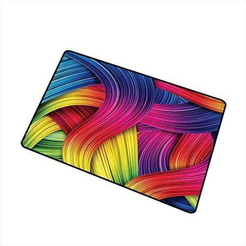 Interesting Doormat Abstract Home Decor Collection Colorful Abstract Swirl Wavy Stripe Retro and Summer Sunny Joyful Design W35 xL59 Indoor Outdoor, Waterproof, Easy Clean Purple Yellow Pink