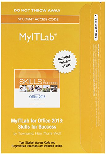 Myitlab With Pearson Etext    Access Card    For Skills For Success With Office 2013