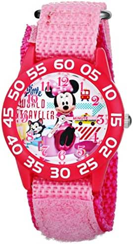 Disney Kids' W001663 Figaro and Minnie Mouse Plastic Case Watch with Pink Strap