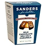 Gourmet Milk Chocolate Sea Salt Caramels - Sanders Fine Chocolates 6oz Box - Classic Caramel covered in creamy Milk Chocolate + sprinkled with sea salt | THE ANSWER TO YOUR SWEET & SALTY CRAVINGS!